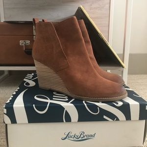 Lucky Brand Wedge Suede Booties
